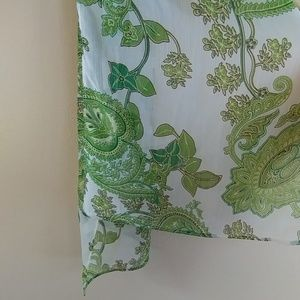 Accessories - Green Floral scarf, rectangle
